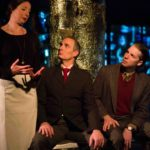 Pictured, L to R: Shannon Kearns-Simmons as Emilia, Paul Taylor as Dr. Hartungen, and Teddy Spencer as Jay Spellman.